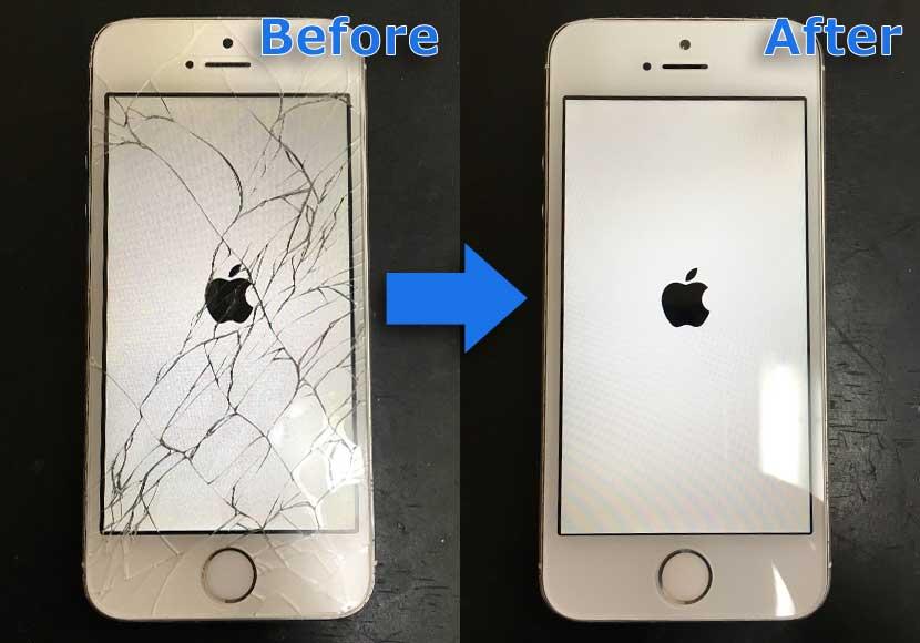 iPhone5sの画面割れ修理前後